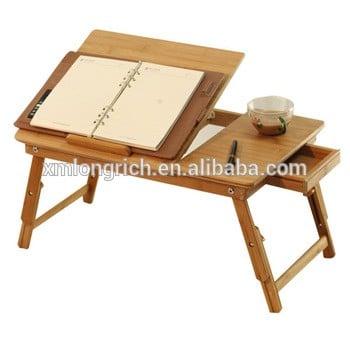 便携式折叠竹制可调式笔记本床