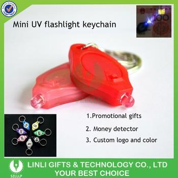 Promotional Mini UV Flightlight Torch Keychain,UV Keyring Flashlight , Counterfeit Detector Key holder