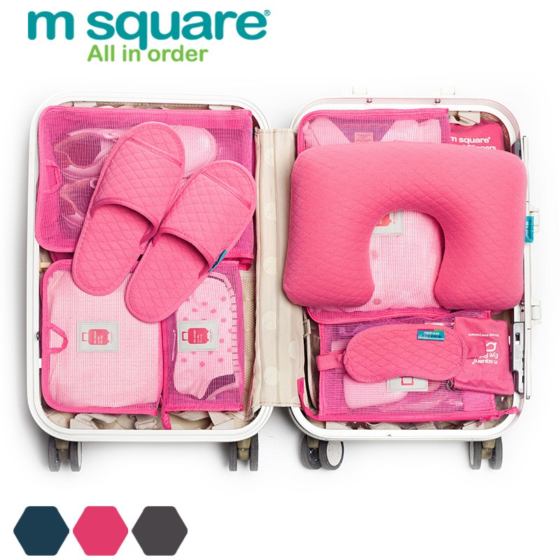 便携式M方眼罩u形充气颈枕及折叠式拖鞋旅行包