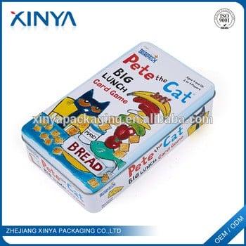 新亚批发中国商品的矩形玩具包装金属锡盒游戏卡