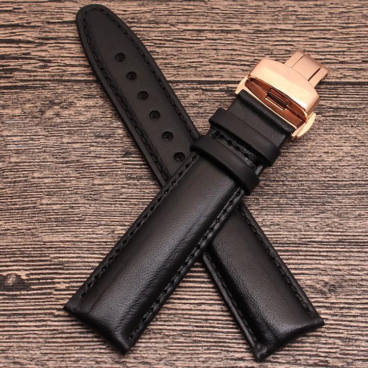 手工带20mm 22 mm小牛皮表带按钮部署扣表带蝴蝶