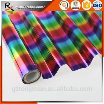 中国工厂批发3003 # 12mic高质量彩色彩虹烫印箔