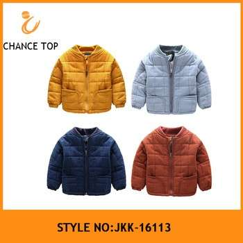 JKK-16113 Double quilted stand collar baseball uniform style childrens coat