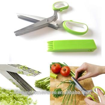 5刀不锈钢厨房剪刀剪刀切食物草本植物葱