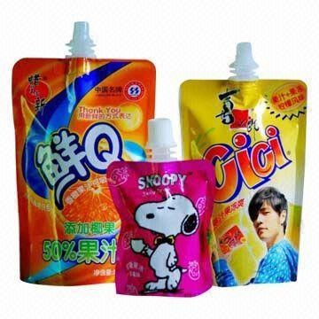 Standing up pure water drink pouch with spout, printed packing poly bag for milk beverage,yogurt. doypack for baby liquid food