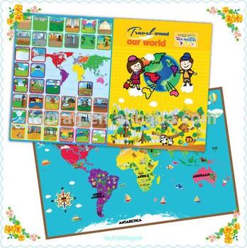 2015全新卡通世界地图拼图儿童创造性磁学习教育玩具