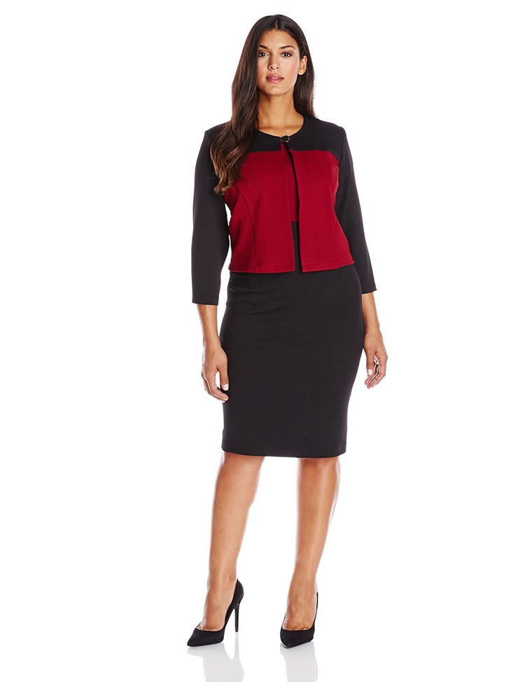 Wholesaler Plus Size Long Sleeve 2 Piece Jacket Formal Office