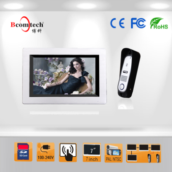 Bcomtech 7 inch touch screen monitor video door phone with video recording