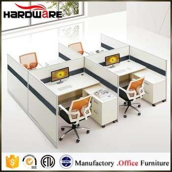 高品质的白色三聚氰胺4人办公室线性工作站