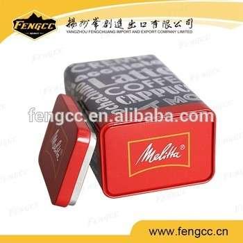 方锡容器彩色印刷金属矩形咖啡盒