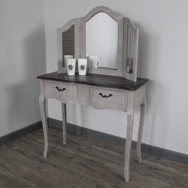 Wooden Portable Mirrored Dresser Grey Dressing Table 3 Drawers Antique Vanity Set Wood Make Up