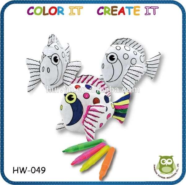 孩子们简单的创意DIY着色绘画的早期学习教育3d绘图修饰毛绒玩具