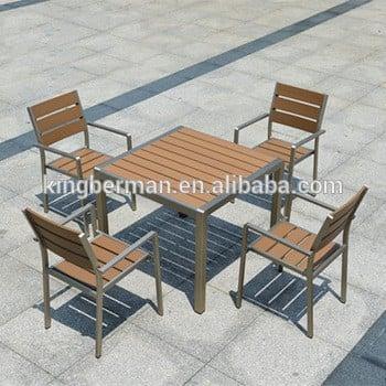 全天候户外家具套装庭院二手木桌4椅塑料木餐桌椅套装