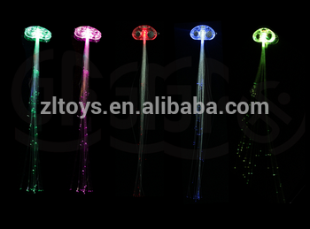 LED光纤头发为女孩发光假发假发编织玩具热销售节日派对装饰用品