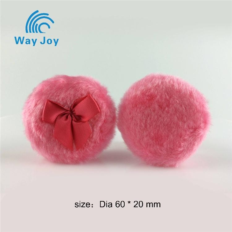 Light red mooncake shaped acrylic fiber plush cosmetic powder puff with red strip