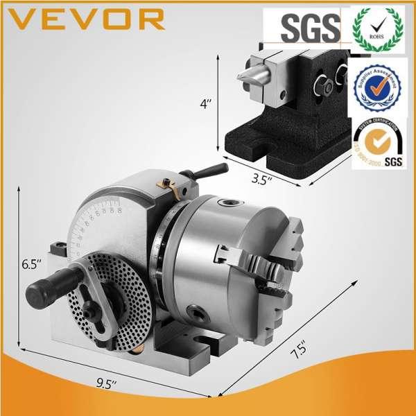 分度头VU-100 5inch 3爪卡盘分度头集精密半万能分度头铣床回转工作台T