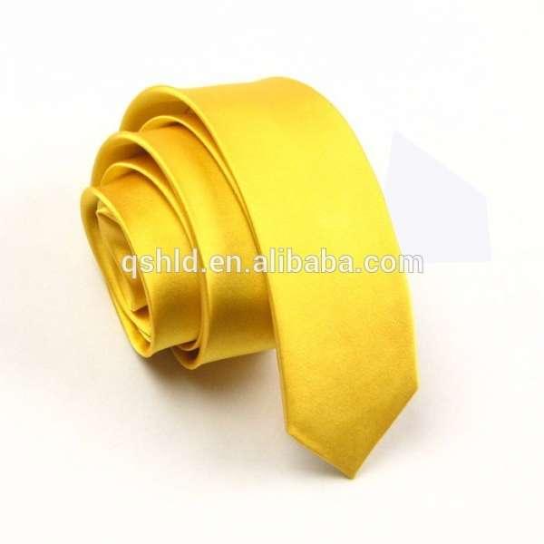 纯黄色100%纯真丝领带jacquare编织细领带