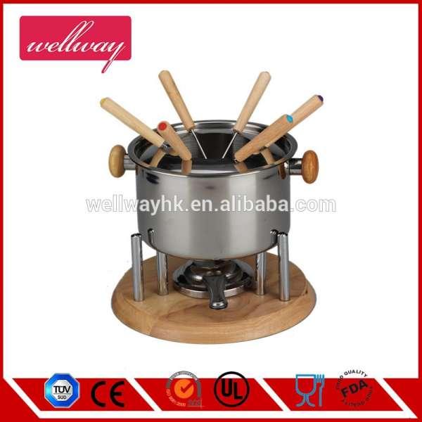新风格的烹饪工具不锈钢火锅组/台式电动工作火锅/奶酪锅
