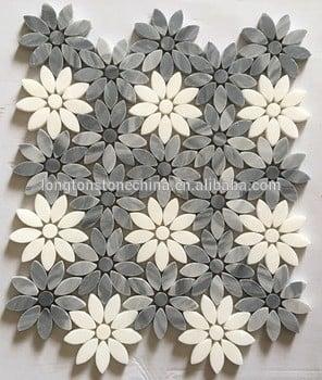 卡拉拉的灰色和白水晶花设计马赛克浴室地板防滑瓷砖