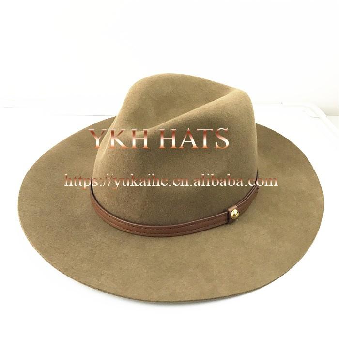 9d0e0a34 Wool felt fedora hat wholesale fashion leather band wide brim felt hat