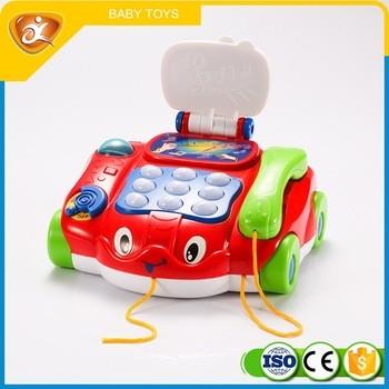 促销红色塑料电话玩具电池供电塑料手机玩具为婴儿