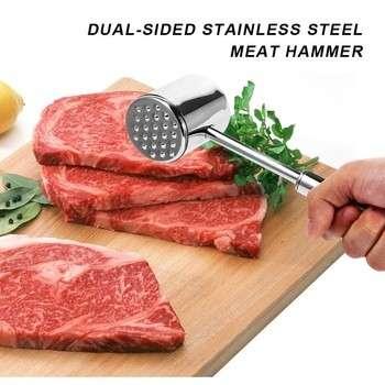 肉锤双面肉锤锤不锈钢、牛肉、鸡肉、五花肉槌的厨房工具,家禽肉类的工具