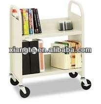 热销二手学校图书馆家具、钢库、带轮子的双层图书车