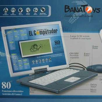智能英语和西班牙语儿童笔记本电脑学习机