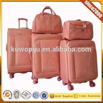 Crocodile Pu Leather 5 Pcs Spinner Luggage Set Hot Sale