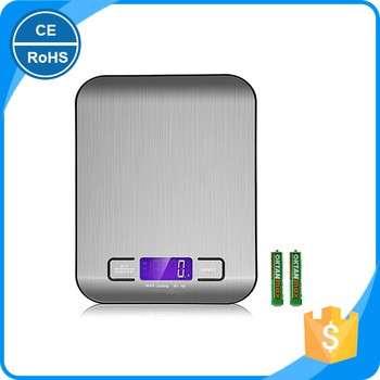 LCD背光数字厨房秤防指纹不锈钢平台5000g 1G称重装置电动食品规模