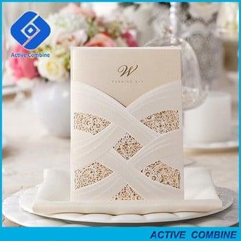 2016 Luxury Bride Dress Handmade Laser Cut Wedding Invitation Cards