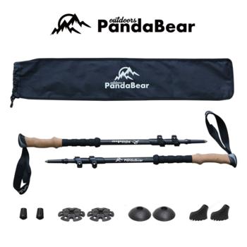 碳纤维pandabear北欧手杖,折叠旅行棒,伸缩登山杖