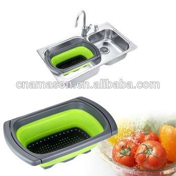 Kitchen Collapsible Silicone Colander Extenable Strainer Over Sink Strainer
