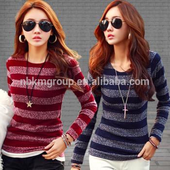 时尚女人带毛衣便宜o-neck聚酯紧多颜色的毛衣过冬