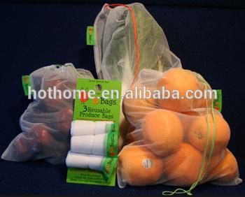 可重复使用的束带网格存储食品袋、水果/蔬菜