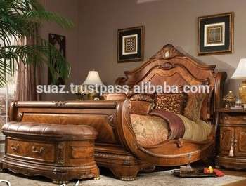 King Size Wood Double Bed Solid Wood Bedroom Bed Latest
