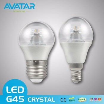 Avatar LED CRYSTAL Plastic coated aluminum G45 bulb with carton packaging