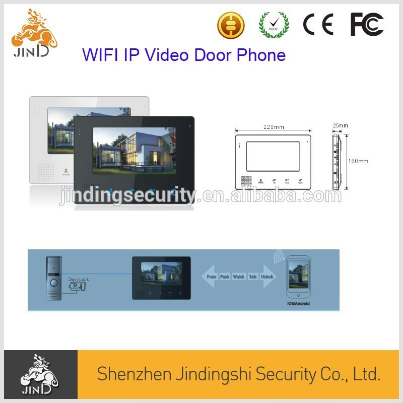 7inch LCD WIFI IP Video Door Phone suport Mobile phone and Tablet Unlock, monitoring, talking