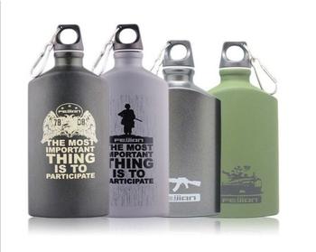 工厂批发500mL装铝平军事饮水瓶,新设计的平的军用水壶