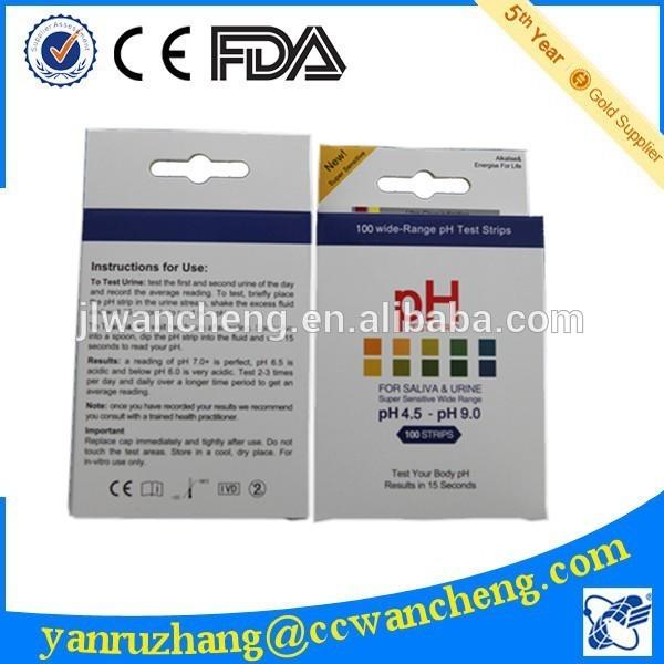 pH试纸4.5-9.0视觉pH检测试剂盒FDA