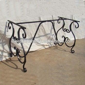 装饰钢矩形餐桌金属餐桌底座铁艺实心户外餐桌