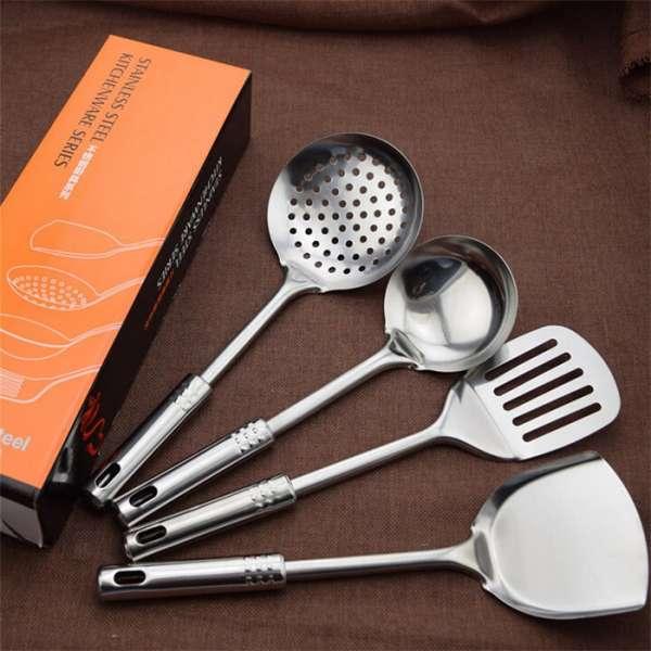 4件套装不锈钢餐具,促销礼品不锈钢炊具,中国工厂的不锈钢锅