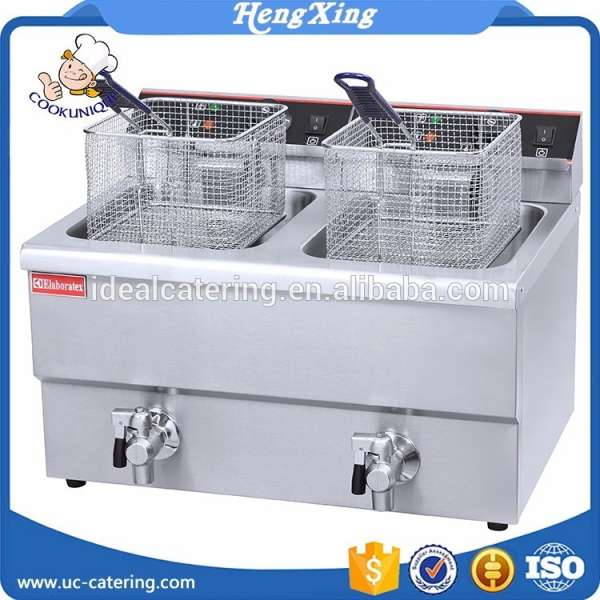 Commercial 20L electric twin deep fryer with draining taps / kitchen fryer