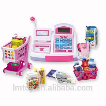 学龄前期教育电子现金登记玩具扮演孩子现金登记与麦克风和扫描仪