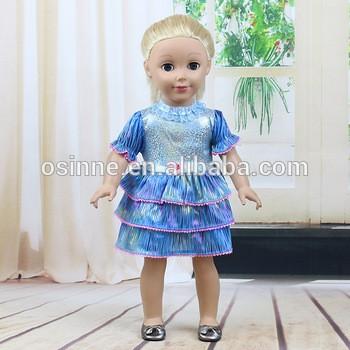 美国女孩娃娃服装埃尔莎蓝色蕾丝长裙娃娃服装18寸娃娃派对服饰配件