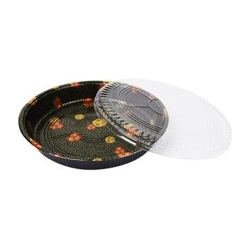 带盖子的一次性圆形黑色塑料寿司派对托盘