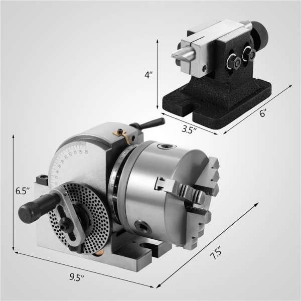 分度头VU-100 5inch 3爪卡盘分度头集精密半万能分度头铣床回转工作台