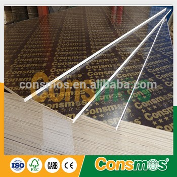 consmos 3星级18mm覆膜板,三聚氰胺WBP胶杨木芯/哈伍德芯胶合板建筑模板