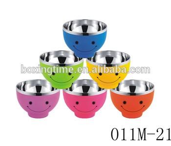 儿童彩色不锈钢双层塑料保温碗