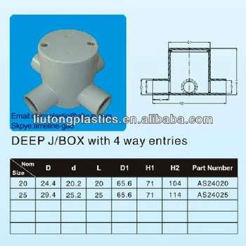 electrical pvc pipe ,Electrical Fitting PVC,Deep J/BOX with 4 way entries